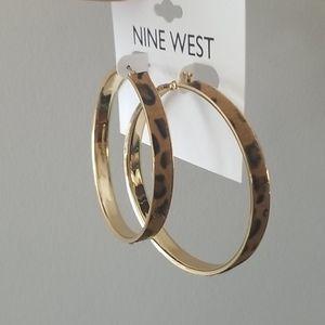NWT Leopard Hoop Earrings